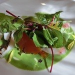 33882001 - 脂の乗った鰆のサラダ仕立て 蕪、柿、キャベツを添えて 菊菜のソース