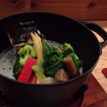 33885361 - 温野菜...お家の器にはバーニャソースが入ってます
