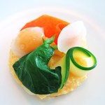 ハインツ・ベック - ポレンタ うずら卵とグラナパダーノのソース