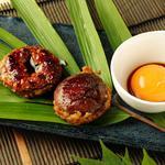 つくね椎茸特製タレ焼き(卵黄添え)  380円(税別)