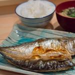 つばき食堂 - 関サバ一夜干し・おいしいご飯・味噌汁【2014年11月】