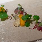 deco - 寒鯖の軽いグリエと庄内柿のマリネ 玉葱のグレックと柿酢のジュレを添えて【2014年11月】