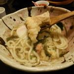 創作おうどん 遊佳 - 七菜おうどんのえび天リフト~!