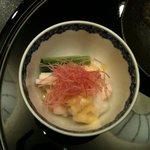 銀座いらか - 酢物(海老 うるい 長芋 紅芯大根 胡麻味噌酢)
