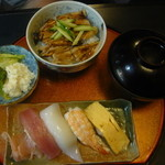 33945414 - 寿司4ヶ+穴子丼