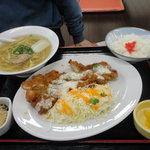 3395560 - デカチキン南蛮カツ定食 プラスラーメンセット 980円