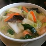 中国料理 桃花園 - 野菜いっぱい海老あんかけソバ