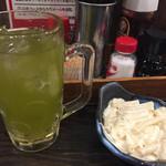 33956611 - 緑茶ハイ&マカロニサラダ