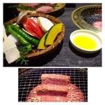33956662 - 焼き野菜(700円)・・コーン・山芋・玉ねぎ・エノキ・カボチャ・ししとう。