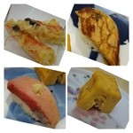 やま中 - 上左:車海老の頭の天ぷら・・しっかり揚げてあり美味しい。 上右:穴子・・フワフワではないですが、普通に美味しい。 下左:寒鰤・・脂がのり美味しい。 下右:玉・・甘さ控えめで固めに焼かれた品です。