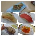 やま中 - 上:サービスで出された「鯖押し寿司」と「平目の昆布〆」 中左:平目の昆布〆 中右:赤身 下左:車海老 下右:雲丹イクラ