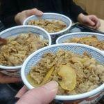 吉野家 - 料理写真:深夜4時の乾杯は牛丼で