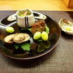 味心 すず木 - 子持ち鮎、北寄貝のてっぱい、蛸の桜煮、藤九郎。