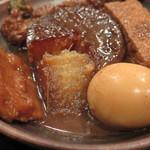 34026018 - ランチ「おでん 日替り5種 850円」、1/7(水)にいただいたおでんは、ダイコン、生姜はんぺん、厚揚げ、玉子にいんげんごぼう