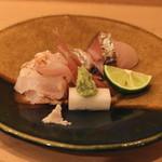 樋口 - お造り (炙りクエ と 鰆) (2014/12)