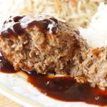 喫茶フルール - 肉がぎっしりタイプのハンバーグ、ピリ辛デミグラスソースも美味い