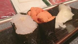 美乃鮨 - ウニと白海老の軍艦ゴールデンコンビ