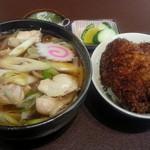 そば処 結城屋 - 鳥なんうどんとミニソースカツ丼(2014.06.20)