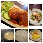 四季の味処 髭ダルマ - コロッケは「ポテトと玉ねぎ」というシンプルな品ですけれど、大きさもありますし熱々で美味しい。 デミグラスソースもタップリです。 お味噌汁は「白菜」と「お豆腐」が入っていました。