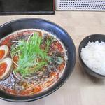 幸せひとつ - 担担麺(小ライス付)800円にしました。 それに煮玉子100円を追加。