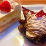 不二家 - ショートケーキと和栗のモンブラン♪