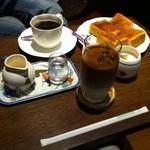 茶房きゃんどる - キリマンジャロ、アイスカフェオレ、バタートースト