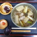 ウッディハウス - 雉そば。季節限定。日本でも 珍しい、そばのメニュー。(そば団子は、29,30,31日にサービス。)