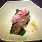 アトリエ森本ゼックス - 豪華な食べ比べコース(14500円)・前菜 和牛ローストビーフの握り寿司