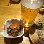 酒蔵 力 - お通しと生ビールです。