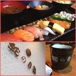 34100134 -  ✨Today's Lunch✨650yen                                              握り6貫✨巻き一本✨赤だし✨サラダ✨根菜煮                                              彼がオーダーした寿司定食。コスパ良すぎ