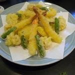 うまい鮨勘 - コース料理の4品目_天麩羅盛り合わせ