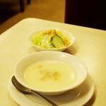 ジャッキー ステーキハウス - スープとサラダ