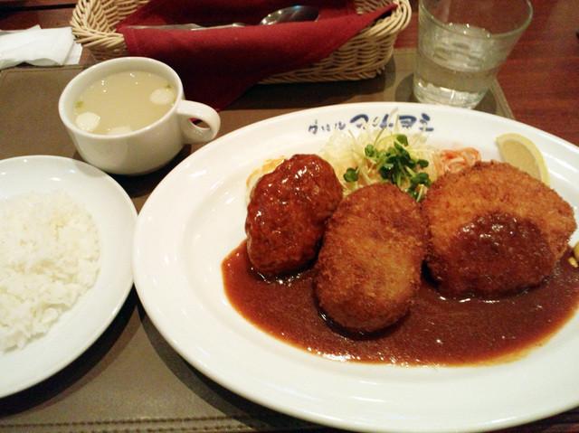 グリル マルヨシ - 洋食の王道セット(Bセット)1480円。ライス、スープ付