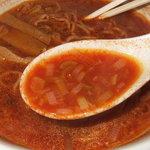 ぽぷら中華レストラン - 真っ赤なスープ!でも美味しかった~