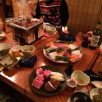 まつだ荘 - 肉はかき集めたので、写真の肉皿は多いので注意
