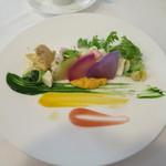 34135141 - 北陸産甘海老と冬野菜のふんわりムース 旬の鎌倉野菜のキッシュ仕立て