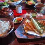 つろぎ - C.長茄子とセロリの豚肉巻き揚げと季節の天ぷら