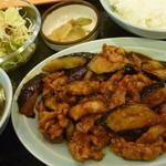 辰巳家 - ランチ定食D(なすの肉みそ炒め)税込730円