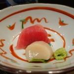 三田 竹若 - (2014/11月)金目鯛の煮付膳のひとくち刺身