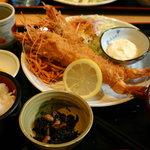 秋よし - 大エビフライ定食 1,280円 頭までバリバリいけます(*^-^)