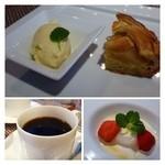 シュエット - デザートも4種類から選べます。 ◆上・・アップルパイとバニラアイス。 下左:ブルマンジェ。下右:珈琲