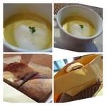 シュエット - 甘薯と野菜のブイヨンのスープ、上にはミルクの泡・・お野菜の甘みを感じる品。 パンの出し方が素敵ですよね。無料で追加できます。