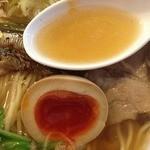 麺ゃ しき - しき麺(700円)+麺大盛(100円)+限定大分産濃厚煮卵(100円)スープ・味玉