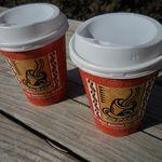 テントコーヒー - コーヒーオリジナルブレンド(ダーク) 300円、豆乳カフェオレ 350円