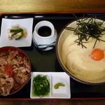 瀬戸内製麺710 - 山かけぶっかけ&牛めしセット(H27.1.4)