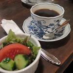 英吉利西屋珈琲店 - ランチのサラダとコーヒー