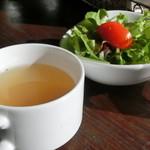 ラグタイム - ランチセットのサラダとカップスープ