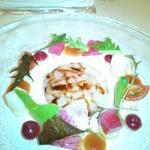 34208618 - サラダ   、ソイ(魚) 、紅心大根、ポテト、プチトマト  フランボワーズソース