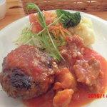 34220407 - 日替わりランチ(ハンバーグと鶏肉のトマトソース煮)