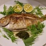 トラットリア バール イル ポルトローネ - 本日の魚のロースト香草ソース1200円+税